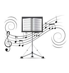music notes treble clef flow on music staff vector image