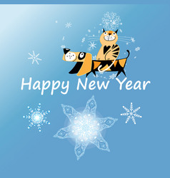 New year greeting card with dog and cat vector
