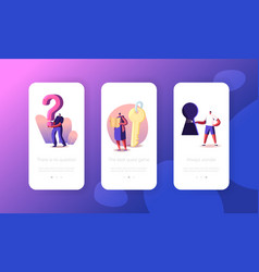 people solving room escape task mobile app page vector image