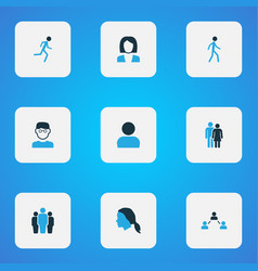 person icons colored set with smart man profile vector image