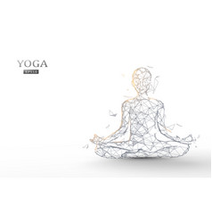person practices yoga and meditation vector image