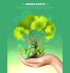 Realistic hand plants ecology vector