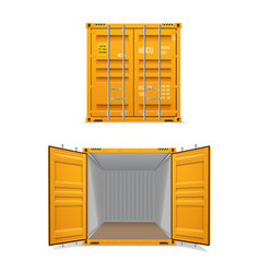 realistic set bright yellow cargo container vector image