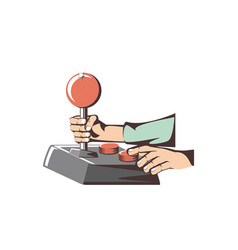 Retro joypad video game with hands vector