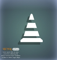 Road cone icon On the blue-green abstract vector