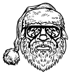 santa claus in sunglasses christmas symbol sketch vector image