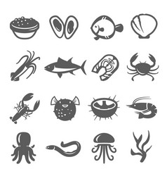 seafood delicacy bold black silhouette and line vector image