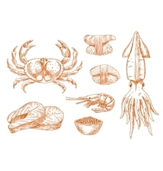 Seafood platter fresh ingredients sketch symbol vector