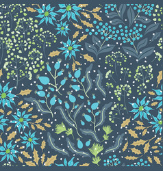 seamless pattern blue poinsettia flowers vector image
