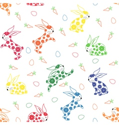 Seamless pattern with ornamental rabbits vector image