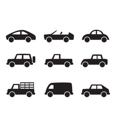 Set of car icons in simple style vector