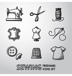 Set of handdrawn sewing icons - machine scissors vector image