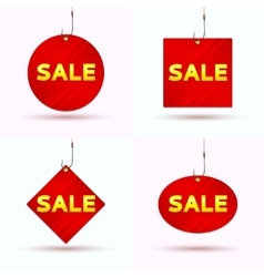 Set of red tags of sale vector image