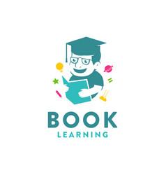 Simple education logo kid reading book logo icon vector