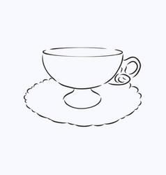 Sketch tea cup vector