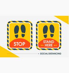 Social distance rectangular sticker outdoor vector