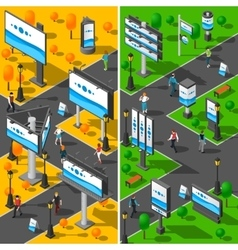 Street Advertising Isometric Banners Set vector image