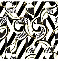 Striped modern black and white seamless pattern vector