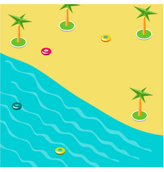 Summer concept of sandy beach in isometric vector