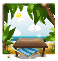summer scene on beach with table and chair vector image