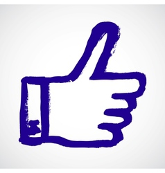 thumb up blue hand symbol vector image