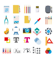 Toolkit for art creation program isolated icons vector