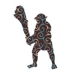 troll pattern silhouette monster villain fantasy vector image
