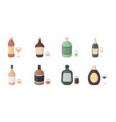 types of alcohol icons in set collection for vector image