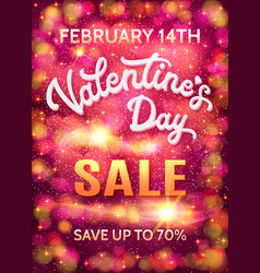 valentines day sale poster template with hearts vector image