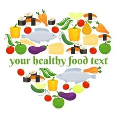 Various foods in heart shape arrangement vector image