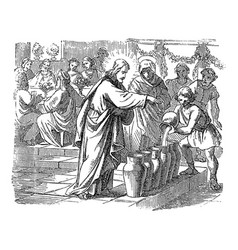 Vintage drawing biblical story how jesus vector