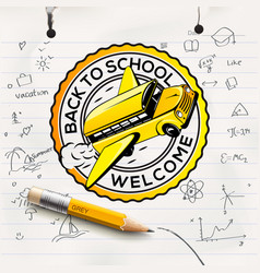 Welcome back to school logo school notebook paper vector