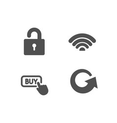Wifi buy button and lock icons reload sign wi vector