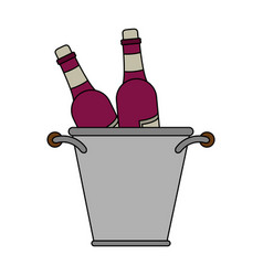 wine bottles in ice bucket vector image