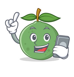 With phone guava character cartoon style vector