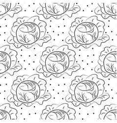 cabbage pattern contour coloring with dots vector image vector image
