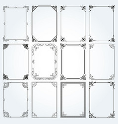 decorative rectangle frames and borders set 2 vector image vector image