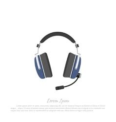 Headphones civil aircraft pilot vector image