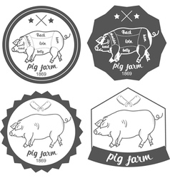Set of logos pig farm in vintage style vector image vector image