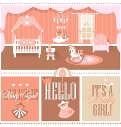 Baby girl shower cards Nursery interior vector image