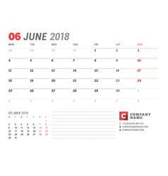 calendar template for june 2017 business planner vector image