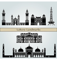 Lahore landmarks and monuments vector image vector image