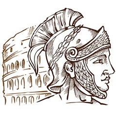 roman warrior on colosseum background vector image