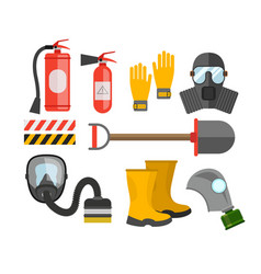 Safety equipment set Fire protection and fire A vector image vector image