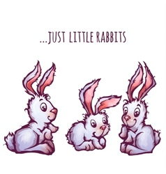 Set of cartoon cute rabbits vector image vector image
