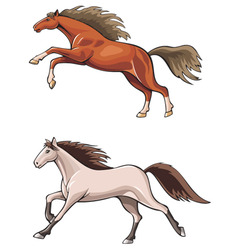 two running horses vector image