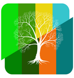 abstract tree with bare branches on a colored vector image