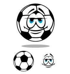 Black and white happy cartoon soccer ball vector image