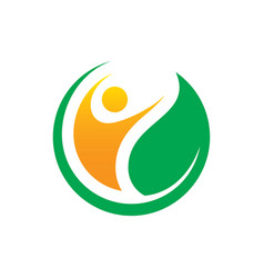 circle people leaf logo vector image vector image
