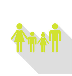 family sign pear icon with flat style shadow path vector image